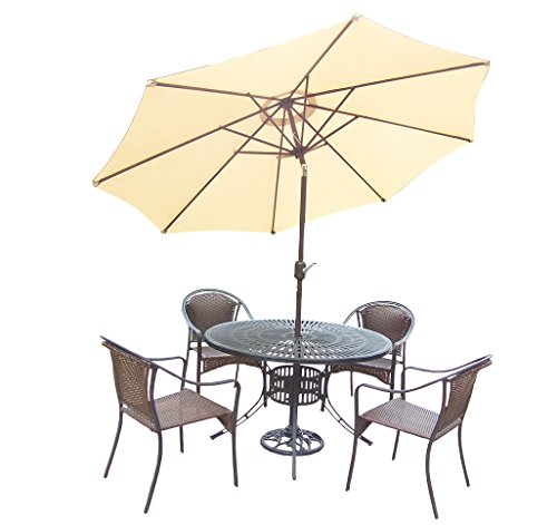 Oakland Living Tuscany 7-Piece Set with 48-Inch Sunray Table, 4 Stackable Resin Wicker Chairs, 9-Feet Tilt and Crank Beige Umbrella and Stand