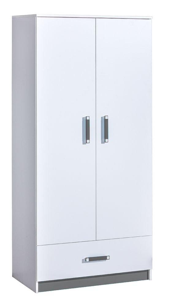 Kinderzimmer - Drehtürenschrank/Kleiderschrank Frank 01, Farbe: Weiß/Grau - 189 x 90 x 50 cm (H x B x T)