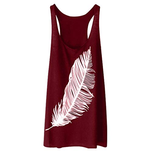 Tank Tops for Women Shusuen Tank Blouse Round Neck Sleeveless Feather Print Casual Ladies Waistcoat Summer 2019 Tunics Wine