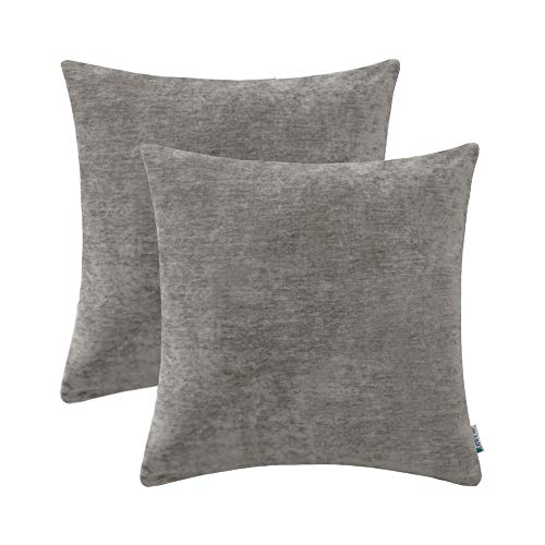 HWY 50 Cashmere Soft Decorative Throw Pillows Covers Set Cushion Cases for Couch Sofa Bed Living Room 18 x 18 Inches Grey Gray Comfortable Soild Decor Pack of ()