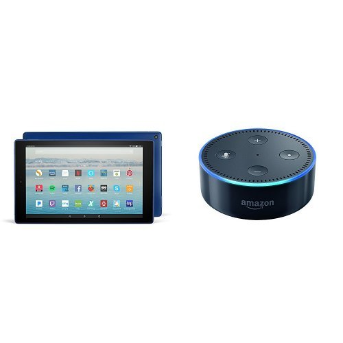 Fire HD 10 Tablet with Alexa Hands-Free, 32 GB, with Special Offers (Marine Blue) + Echo Dot (Black)