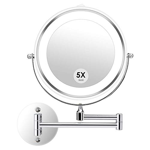 (alvorog Wall Mounted Makeup Mirror LED Lighted Double Sided 5X Magnification 360° Swivel Extendable Cosmetic Vanity Mirror for Bathroom Hotels, Powered by 4 x AAA Batteries (Not Included))