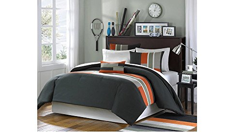 Cheap  4 Piece Full Queen Olive Green Orange Striped Duver Covert Set, Geometric..