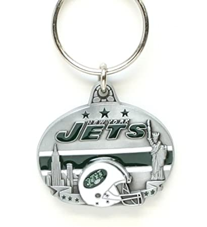 db6cf8b8 Siskiyou NFL New York Jets Oval Carved Key Chain, Metal