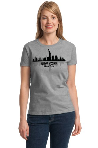 JTshirt.com-20021-NEW YORK CITY SKYLINE Ladies\' T-shirt / NYC, Big Apple, Manhattan Sky Tee-B009AKUB78-T Shirt Design