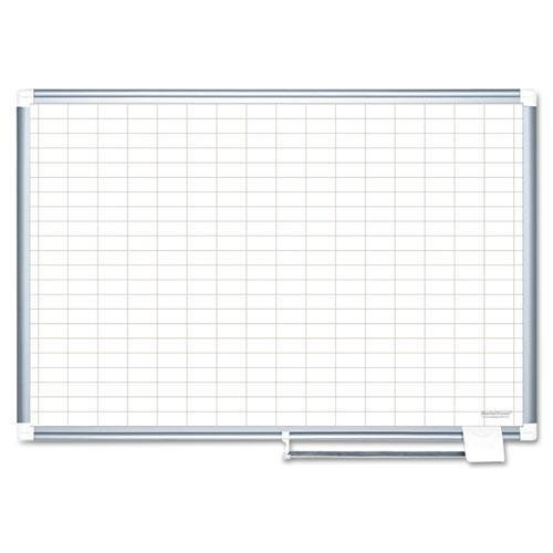 BI-SILQUE VISUAL COMMUNICATION PRODUCTS MA0592830 Grid Planning Board, 1x2'' Grid, 48x36, White/Silver by BI-SILQUE VISUAL COMMUNICATION PRODUCTS