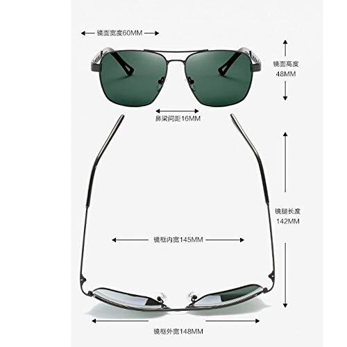 conducción Oscuro de Espejo Sol Gafas Moda Verde de Retro Hombres Metal de Conductor de la Película de Gafas los Burenqiq de de Moda del polarizadas dark Arma green del Sol Marco Espejo del frame Black q7Oaxn