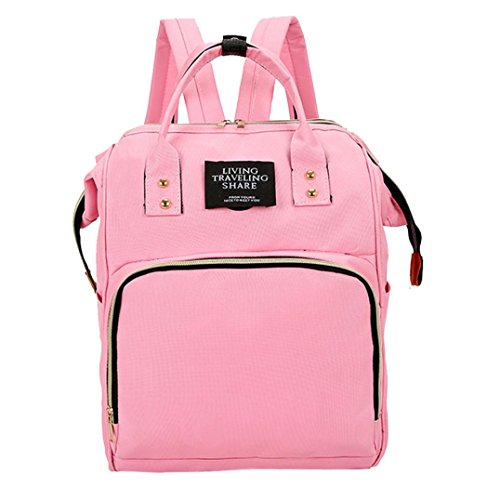 Diaper Bag Backpack Women Large Capacity School Bags Laptop Travel Nappy Bags (Pink)