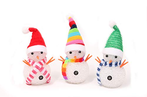 (YAKii LED Snowmen Lamp Color Changing with Colorful Hat & Scarf for Christmas Decor, Battery Operated, Set of 3)