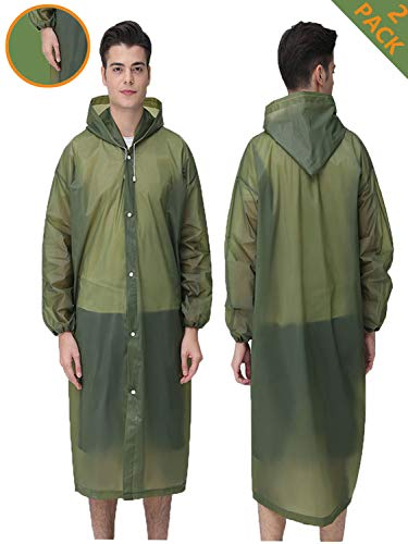 - HLK.Sports Rain Ponchos, [2 Pack] Reusable EVA Rain Coat, Size 59
