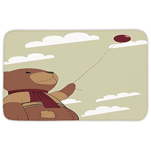 Rectangular Area Rug Mat Rug,Cartoon,A Melancholic Teddy Bear with Scarf Holding a Balloon Clouds in the Sky Clipart,Beige Cinnamon,Home Decor Mat with Non Slip Backing