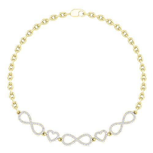 14k White Gold Diamond Heart Link Bracelet (0.25 Carat (ctw) 14K Yellow Gold Round White Diamond Ladies Infinity Heart Link Bracelet 1/4 CT)
