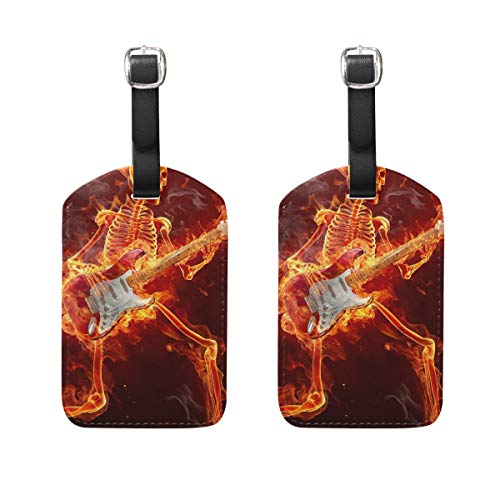 - Spitfire Skull Playing The Guitar Luggage Tags Bag PU Leather Suitcase Labels Design Travel with Back Privacy Cover Set of 2pcs