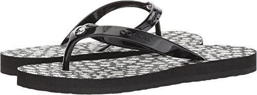 Coach Women's Flip-Flop Black/Chalk Floral Rubber 10 M US