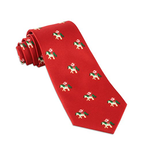 John William Christmas Necktie: Funny Ugly Holiday Tie For Men | Santa Claus Riding Unicorn Necktie - Red - Funny Microfiber Necktie Tie