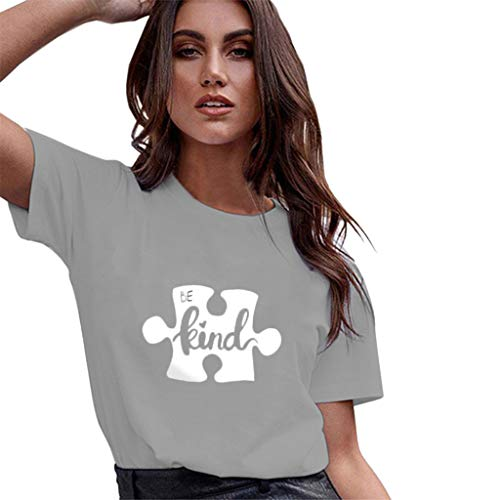 Casual Graghic T Shirt for Women,QueenMMWomen Basic Printed Short Sleeve O Neck Tops Flower and Ladybug Blouse t-Shirt Gray