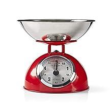 NEDIS KASC110RD Báscula de Cocina Retro | Analógico | Metal | Rojo