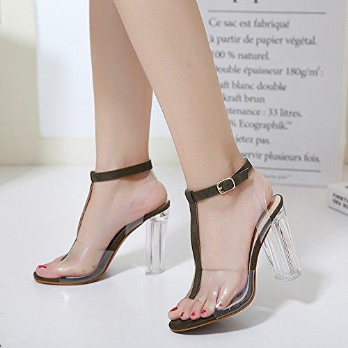 Black La 走 Di Scarpe Cristallo Elegante Scarpe Di Tacco Alta SUHANG A sandali Marea Fibbia Incastro Z4Pq5