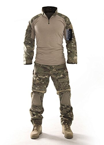 ZAPT Combat Gen3 Tactical Uniform Men Military Shirt and Pants with Knee Elbow Pads for Airsoft Paintball BDU Camouflage Apparel (Multicam, - Black Pants Russian