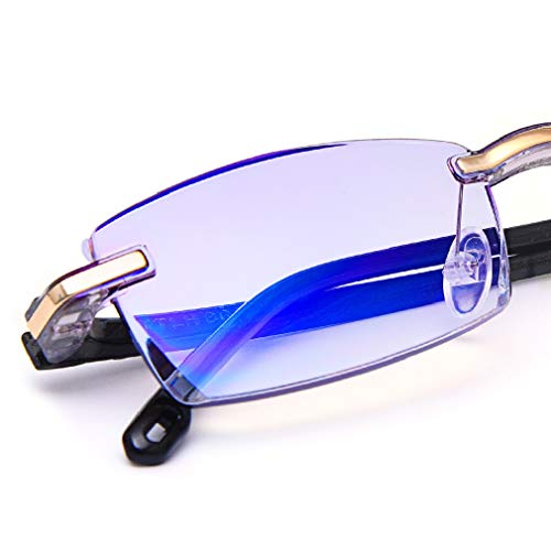 Cut Diamond Fashion - TERAISE Rimless Reading Glasses Fashion Diamond Cut Edge Design Anti-Blue Lens Spectacle Readers for Women(3.5X)