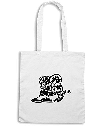 T-Shirtshock - Bolsa para la compra FUN0284 12 cowboy boots 1 80608 Blanco