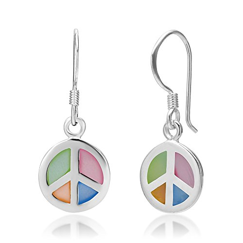(925 Sterling Silver Multi-Colored Mother of Pearl Shell Peace Sign Round Dangle Hook Earrings)