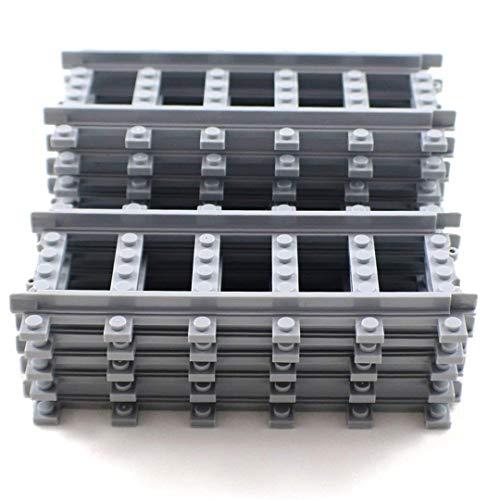 Building Block Railroad Train Tracks Non-Powered Rail - 12x Straight Pieces by Shantou Blocks