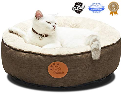 HACHIKITTY Washable Cat Bed Removable Cover, Cat Beds Indoor Cats Medium, Small...