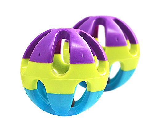 """BECAKY,2.9""""3/5 pcs Wonderful Colors Vibrant Fun Entertaining Best Top Choice Rubber Ball with Bell Anti-depression for Dogs Cats Chew and Fetch,"""