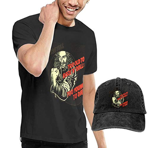 Dingtai Too Old to Rock 'N' Roll Too Young to Die Men's Short Sleeve T Shirt and Adult Washed Cowboy Hat XXL Black (Too Old To Die Young T Shirt)