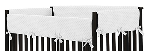 Sweet Jojo Designs Solid White Minky Dot Long Front Rail Guard Boys or Girls Baby Teething Cover Crib Protector Wrap