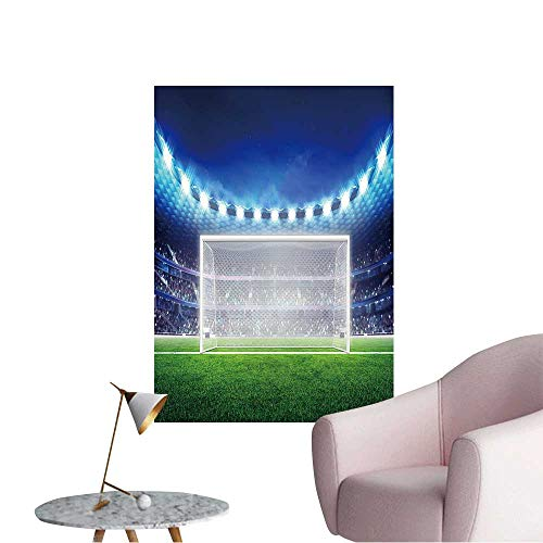 (Wall Decoration Wall Stickers Football Stadium with Empty Goal on The Grass Field Sport Print Artwork,12