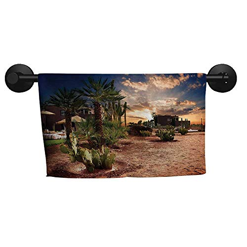 Desert,Fade-Resistant Towel Majestic Sky View Palm Trees and Cactus in Oasis Morocco Tropic Nature Eco-Friendly W 35