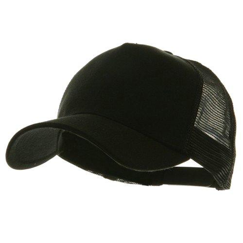 Mesh Back 5 Panel (Heavy Washed 5 Panel Cotton Mesh Back Cap - Black)