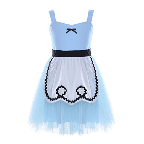 Freebily White Girls Snow Princess Fairy Tale Sweetheart Character Fancy Dress Costume Summer Casual Dress Light Blue (Fairy Tale Clothes)