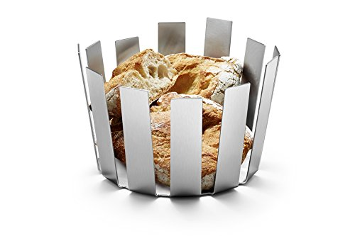 ZACK 30672 Tosto Bread Basket with Silicone Feet on Base and Brushed Finish, 5.6-Inch, Stainless Steel by Zack (Image #1)