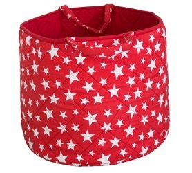 Simply Storage Red Star Storage Basket Large - Star Storage Basket, Round Storage Basket, Large Fabric Storage Baskets - Great for Toy Storage, Kids Storage and as a Laundry Hamper