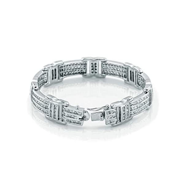Mens-Sterling-Silver-925-Bracelet-with-Channel-Set-Princess-Cut-and-Round-Cubic-Zirconia-CZ-Stones-Box-Lock-Platinum-Plated-Sizes-8-9-By-Sterling-Manufacturers