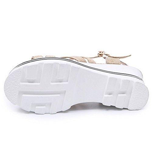 TAOFFEN Moda Mujer Tacon De Cuna Sandalias Punta Abierta Plataforma Tacon Alto Verano Zapatos De Hebilla Beige