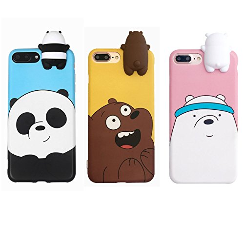 Aikeduo For 3D Cartoon Animals Cute We Bare Bears Soft Silicone Case Cover Skin 3pcs sell For iPhone6/ 6s/6s plus iPhone7 /7plus case (iPhone7)