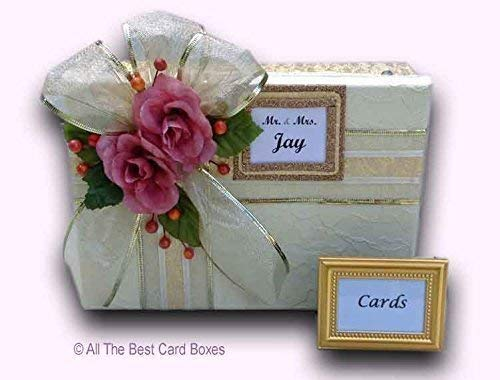 - Gold Wedding Card Box, Mauve Roses, Gold Fabric, Lace and embossed paper, Handmade, Holds 30 cards, All The Best Card Boxes