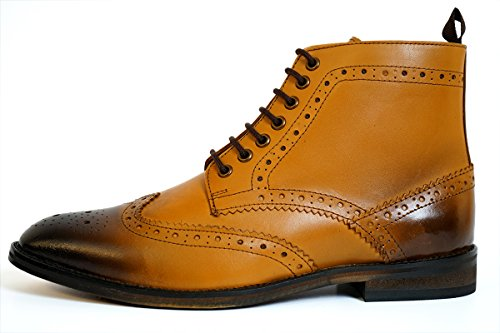 Aspele Mens Classic Leather Lace-up Brogues Ankle Boots, Tan Burnish, Black and Brown