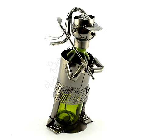 Lady Golfer Metal Wine Bottle Holder Caddy
