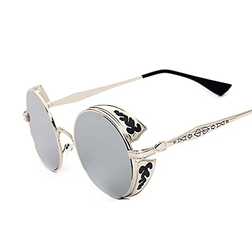 Retro round metal vapor punk carved sunglasses peopel,as picture,Silver frame blue reflective C5