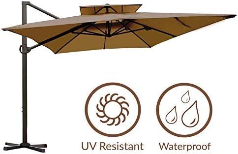 Abba Patio Rectangular Offset Cantilever Umbrella Dual Wind Vent Patio Hanging Umbrella with Cross Base, 9 by 12-Feet, Dark Brown