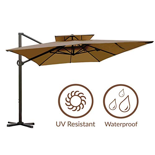 Abba Patio Rectangular Offset Cantilever Umbrella Dual Wind Vent Patio Hanging Umbrella with Cross Base, 9 by 12-Feet, Dark Brown