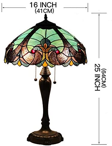 GlassMyth Lighting Tiffany Table Lamp W16H25 Inch Blue Baroque Stained Glass Lampshade Bronze Base of Aluminum Alloy