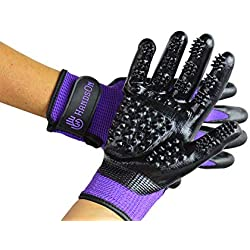 #1 Ranked, Award Winning Handson Gloves for Shedding, Bathing, Grooming, De-Shedding Horses, Dogs, Cats, Livestock, Small Pets PUR JR