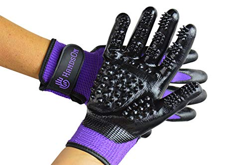 #1 Ranked, Award Winning Handson Gloves for Shedding, Bathing, Grooming, De-Shedding Horses, Dogs, Cats, Livestock, Small Pets PUR Medium