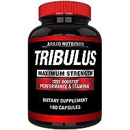 Tribulus Terrestris 1500MG Extract Powder - Testosterone Booster with Estrogen Blocker - Arazo Nutrition USA - 180 Capsules